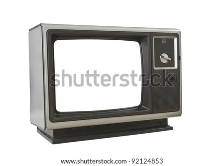 Vintage blank television isolated on white. - stock photo