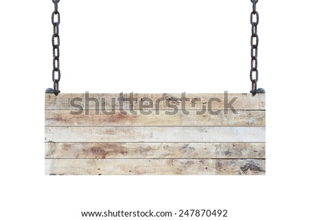 vintage blank wood sign board on chains with space for text isolated on white background - stock photo