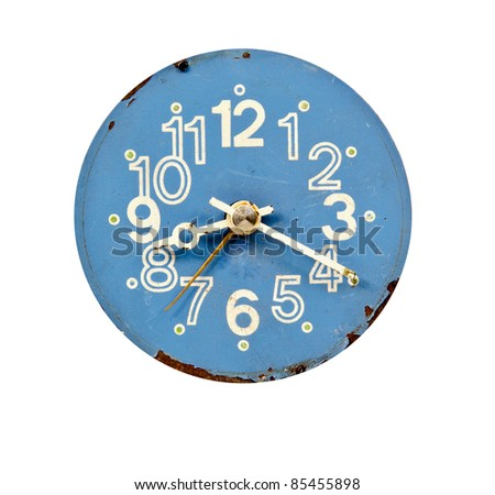 vintage blue and grunge clock dial isolated on white - stock photo