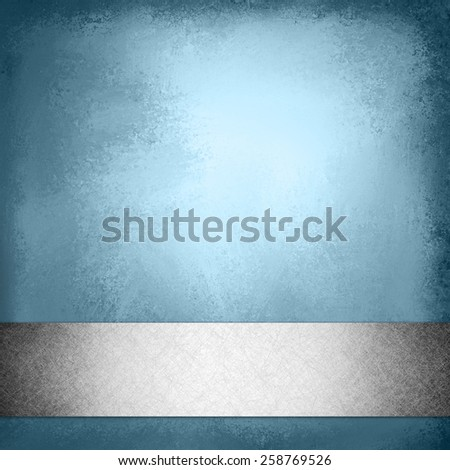 vintage blue background with silver gray ribbon trim on bottom border, elegant fancy layout template design, blue brochure or web design with footer bar or stripe with faint shadow effect - stock photo