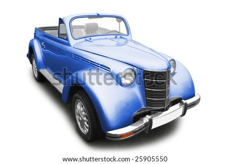 Vintage blue car isolated on white background - stock photo