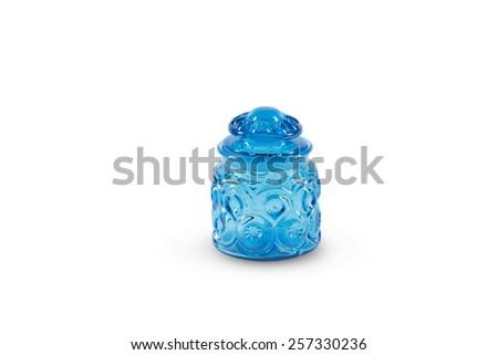 Vintage Blue Glass Jar - stock photo
