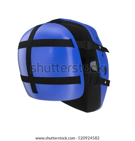 vintage blue hockey mask on white. 3D illustration