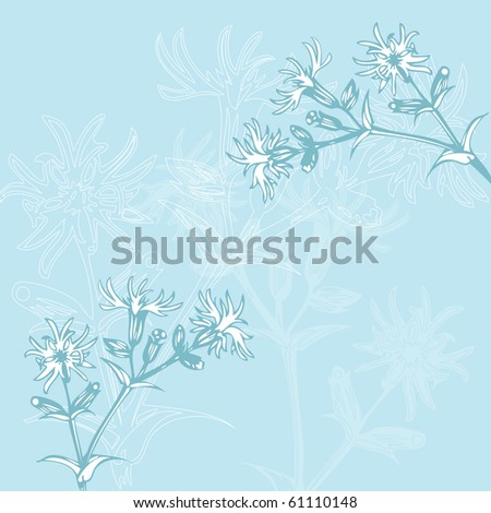 Vintage blue oriental floral background