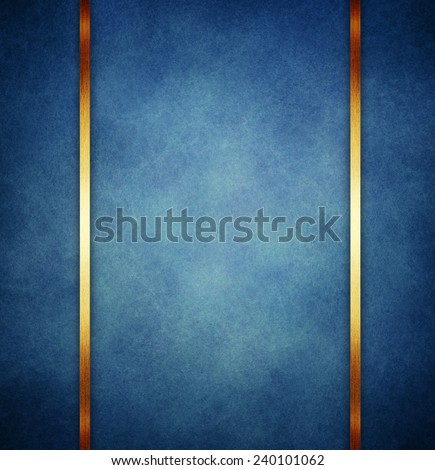 vintage blue paper background with  gold ribbon