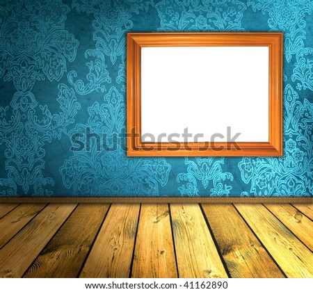 vintage blue room with blank frame - stock photo