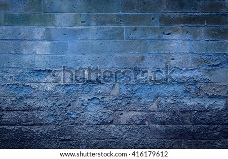 Vintage blue tone old brick wall background