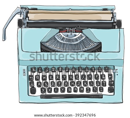 vintage  Blue Typewriter art illustration