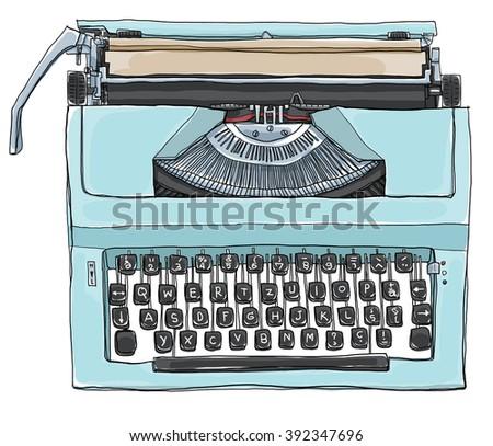 vintage  Blue Typewriter art illustration - stock photo