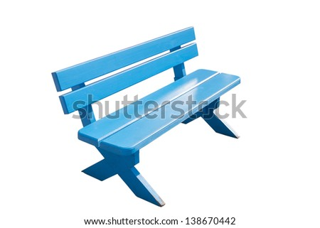 Vintage blue wooden bench isolated on white background - stock photo