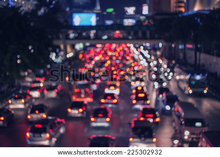 vintage bokeh traffic city and lights. - stock photo