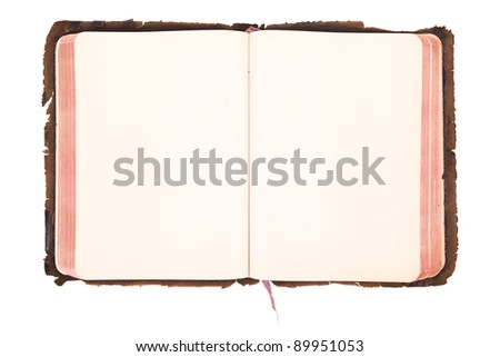 Vintage book open isolated on white - stock photo