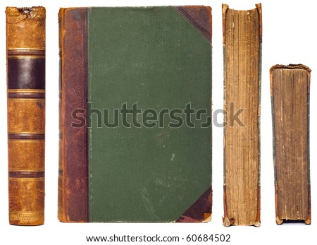 vintage book sides set - spine, first cover, cut and top sides - stock photo