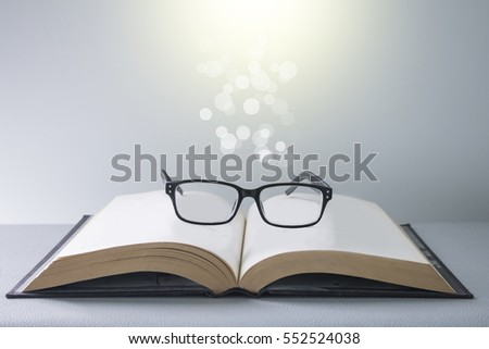 Bright Light Books Beauteous Vintage Books Glasses Bright Light Stock Photo Royalty Free