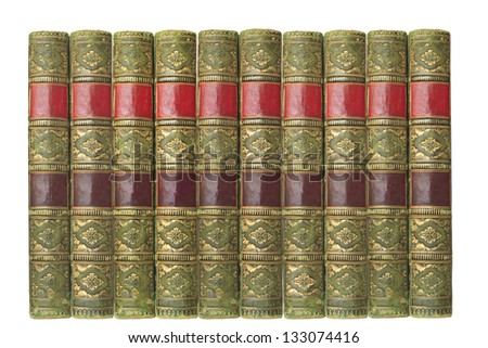 vintage books ia row, isolated on white background - stock photo