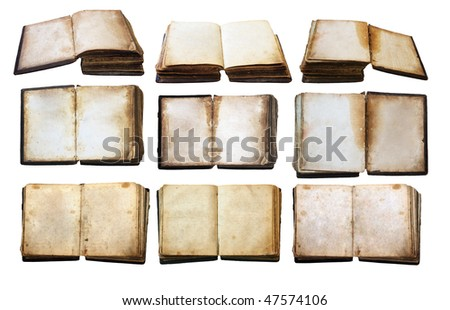 vintage books set isolated on white background with clipping path