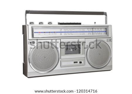 Vintage boom box blaster portable stereo with clipping path. - stock photo