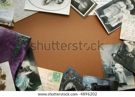 Vintage border with postcards and old memory-book - stock photo