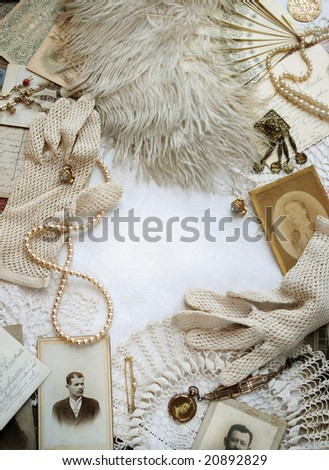 Vintage bordering with fan and photos - stock photo