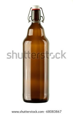 vintage bottle on a white background - stock photo