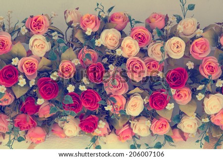 Vintage Bouquet of  Roses for wedding, soft focus effect - stock photo