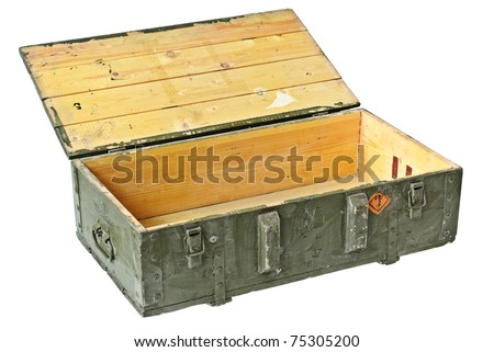Vintage Box of ammunition opened. With Clipping Path - stock photo