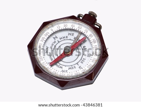 Vintage Boy Scout of America Compass isolated on white - stock photo