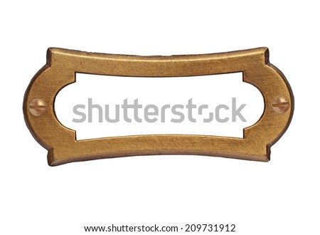 vintage brass name plate over white, clipping path, space for your text - stock photo