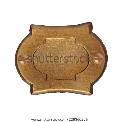 vintage brass number plate over white, clipping path - stock photo