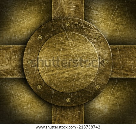 Vintage brass plate backgroung - stock photo