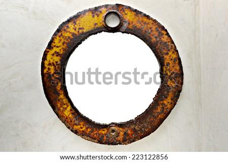 Vintage Brass porthole, ferry window frame on the wall decoration - stock photo