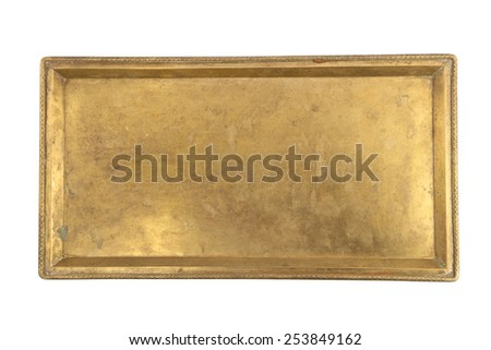 Vintage brass tray isolated on white - stock photo