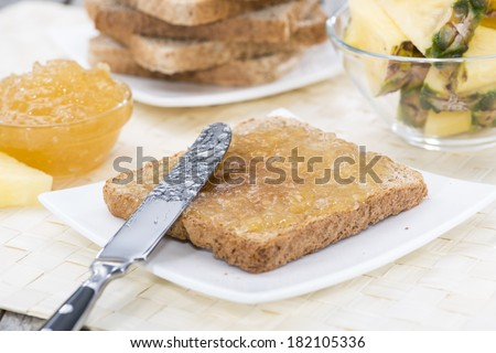 Vintage Breakfast table with a fresh made Pineapple Jam Sandwich
