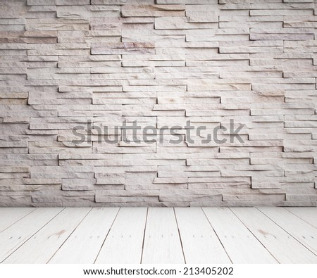 vintage brick wall and wood floor texture interior - stock photo