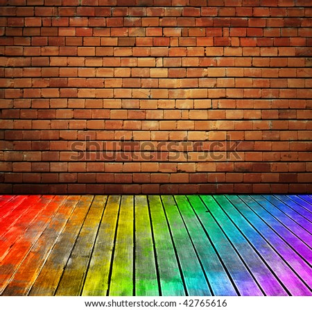 vintage brick wall and wood floor texture interior - check for more - stock photo