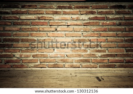 vintage brick wall with wooden floor texture