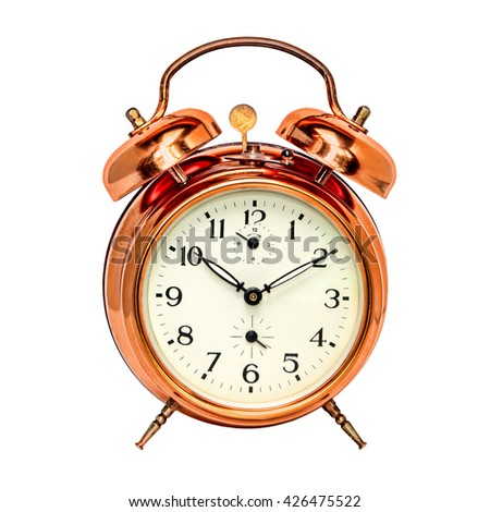 Vintage bronze alarm clock isolated on white background. - stock photo