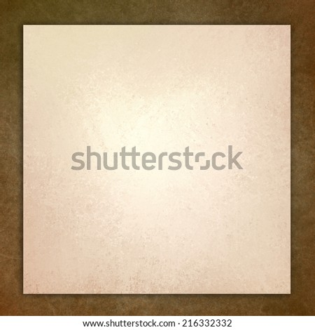 vintage brown leather background illustration, white layer on beige frame with distressed aged texture design - stock photo