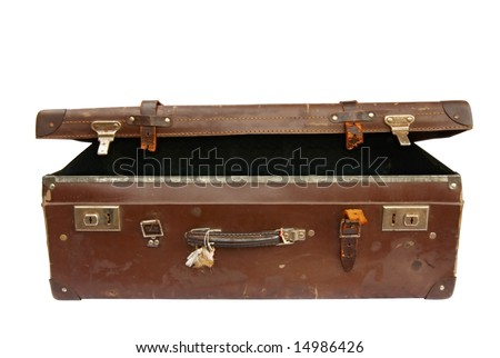 Vintage brown leather suitcase, partly open, isolated on white.  Clipping path included. - stock photo