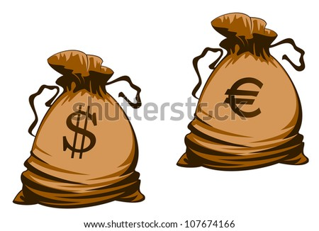 Vintage brown money bags with euro and dollar signs. Vector version also available in gallery - stock photo