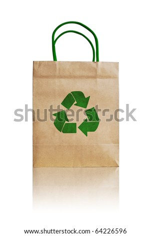 vintage brown recycle paper shopping bag crumpled with green recycle symbol isolated on white background - stock photo