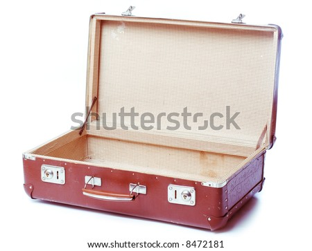 vintage brown suitcase - isolated over white background - stock photo