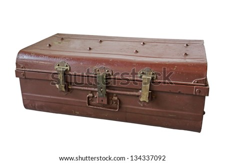 Vintage brown suitcase on white background - stock photo