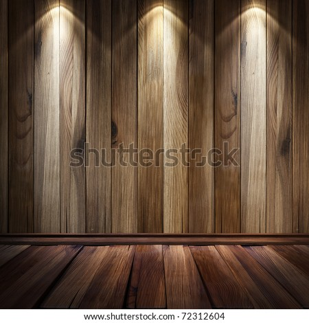 vintage brown wooden wall with a spot illumination. - stock photo
