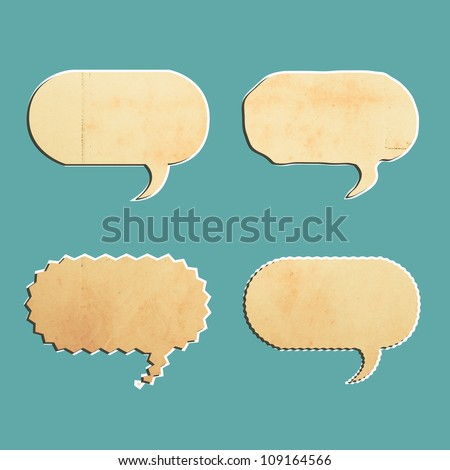 vintage bubble talk tag old paper isolated on blank background - stock photo