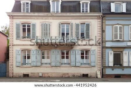 Vintage building with beautiful facade in France