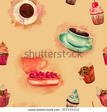 Vintage cafe seamless background pattern with watercolor drawings of coffee and tea cups and pastry, toned wallpaper - stock photo