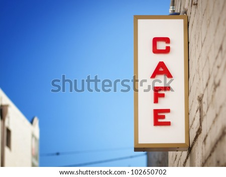 vintage cafe sign - stock photo