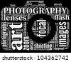 vintage camera icon tag cloud - stock vector
