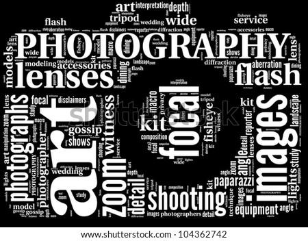 vintage camera icon tag cloud - stock photo